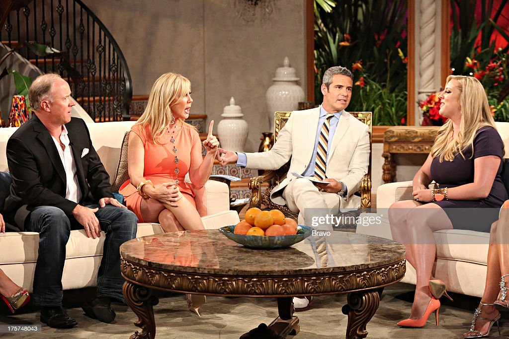 COUNTY --'Season 8 Reunion Special' -- Pictured: (l-r) Brooks Ayers, Vicki Gunvalson, Andy Cohen, Briana Wolfsmith-Culberson --