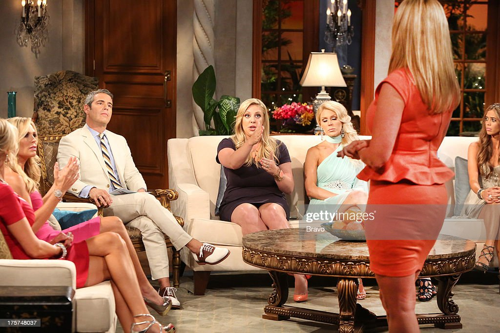 COUNTY --'Season 8 Reunion Special' -- Pictured: (l-r) Tamra Barney, Andy Cohen, Briana Wolfsmith-Culberson, <a gi-track='captionPersonalityLinkClicked' href=/galleries/search?phrase=Gretchen+Rossi&family=editorial&specificpeople=5637804 ng-click='$event.stopPropagation()'>Gretchen Rossi</a>, Vicki Gunvalson, Lydia McLaughlin --