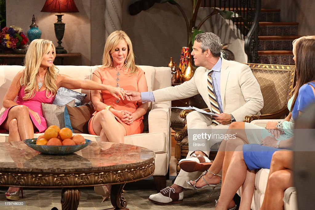 COUNTY --'Season 8 Reunion Special' -- Pictured: (l-r) Tamra Barney, Vicki Gunvalson, Andy Cohen --
