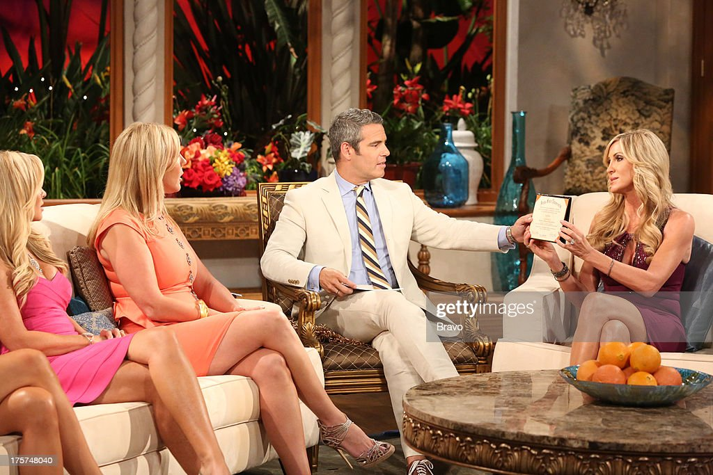 COUNTY --'Season 8 Reunion Special' -- Pictured: (l-r) Tamra Barney, Vicki Gunvalson, Andy Cohen, Lauri Peterson --