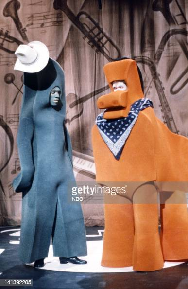 Eddie Murphy as Gumby and Joe Piscopo as Pokey during the 'Gumby Pokey' skit on October 8 1983