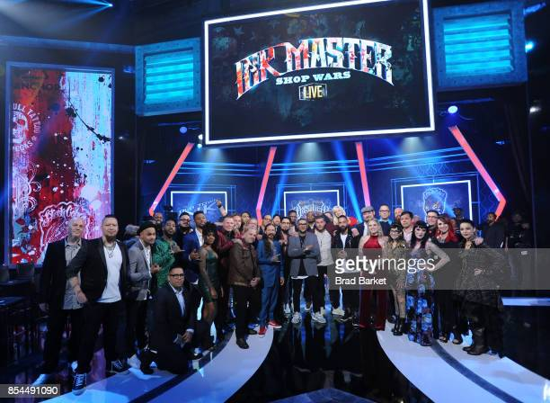 Season 9 LIVE Finale cast poses for a photo together during the 'Ink Master' Season 9 LIVE Finale at The Manhattan Center on September 26 2017 in New...