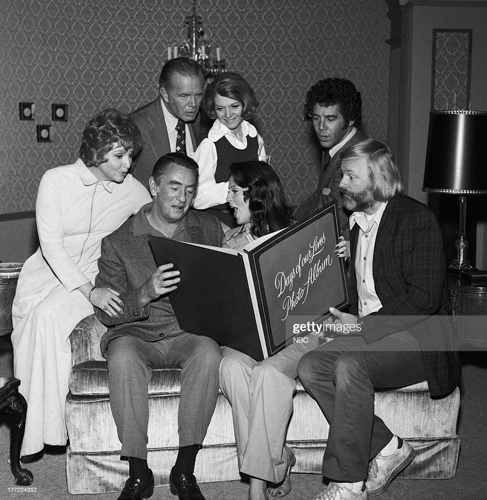 Patricia Barry as Addie Olson, Macdonald Carey as Tom Horton, Susan Seaforth Hayes as Julie Banning, John Clarke as Mickey Horton (standing/back l-r) Mark Tapscott as Bob Anderson, Corinne Conley as Phyllis Anderson, Jed Allan as Don Craig c. 1973-1974 --