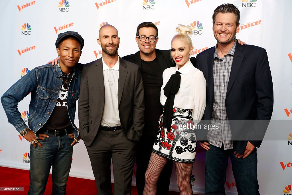 THE VOICE -- 'Season 9 Press Junket' -- Pictured: (l-r) Pharrell Williams, Adam Levine, Carson Daly, Gwen Stefani, Blake Shelton --