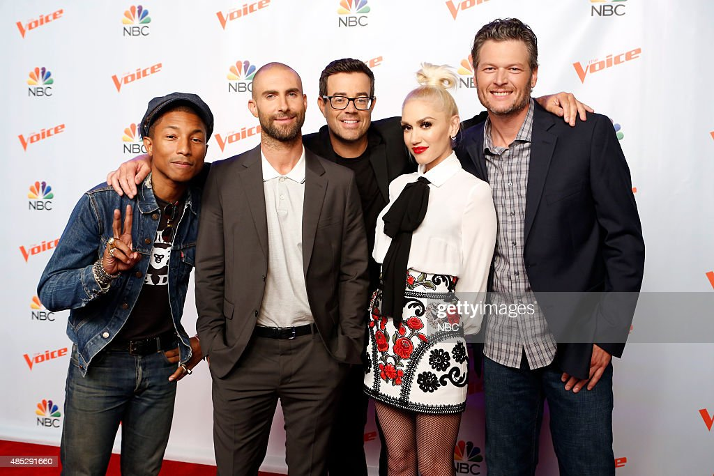 THE VOICE -- 'Season 9 Press Junket' -- Pictured: (l-r) <a gi-track='captionPersonalityLinkClicked' href=/galleries/search?phrase=Pharrell+Williams&family=editorial&specificpeople=161396 ng-click='$event.stopPropagation()'>Pharrell Williams</a>, <a gi-track='captionPersonalityLinkClicked' href=/galleries/search?phrase=Adam+Levine+-+Singer&family=editorial&specificpeople=202962 ng-click='$event.stopPropagation()'>Adam Levine</a>, <a gi-track='captionPersonalityLinkClicked' href=/galleries/search?phrase=Carson+Daly&family=editorial&specificpeople=202941 ng-click='$event.stopPropagation()'>Carson Daly</a>, <a gi-track='captionPersonalityLinkClicked' href=/galleries/search?phrase=Gwen+Stefani&family=editorial&specificpeople=156423 ng-click='$event.stopPropagation()'>Gwen Stefani</a>, <a gi-track='captionPersonalityLinkClicked' href=/galleries/search?phrase=Blake+Shelton&family=editorial&specificpeople=2352026 ng-click='$event.stopPropagation()'>Blake Shelton</a> --
