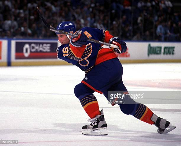 Brett Hull of the Blues doing what he does best shooting the puck