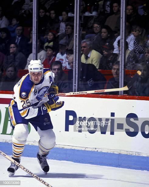 Dave Andreychuk of the Buffalo Sabres skates against the Montreal Canadiens in the late 1991 at the Montreal Forum in Montreal Quebec Canada