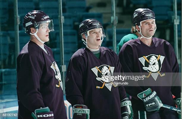 Ducks practice Teemu Selanne Paul Kariya and Gary Valk