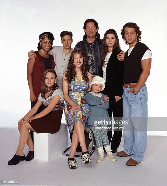 BLOSSOM Season Five 9/26/94 Pictured top row Samaria Graham Michael Stoyanov Ted Wass Finola Hughes Joey Lawrence bottom row Jenna Von Oy Mayim...