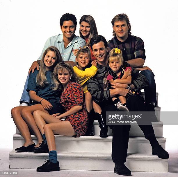 HOUSE Season Five Gallery 9/3/91 Back row left John Stamos Lori Loughlin Dave Coulier front row Candace Cameron Andrea Barber Jodie Sweetin Bob Saget...