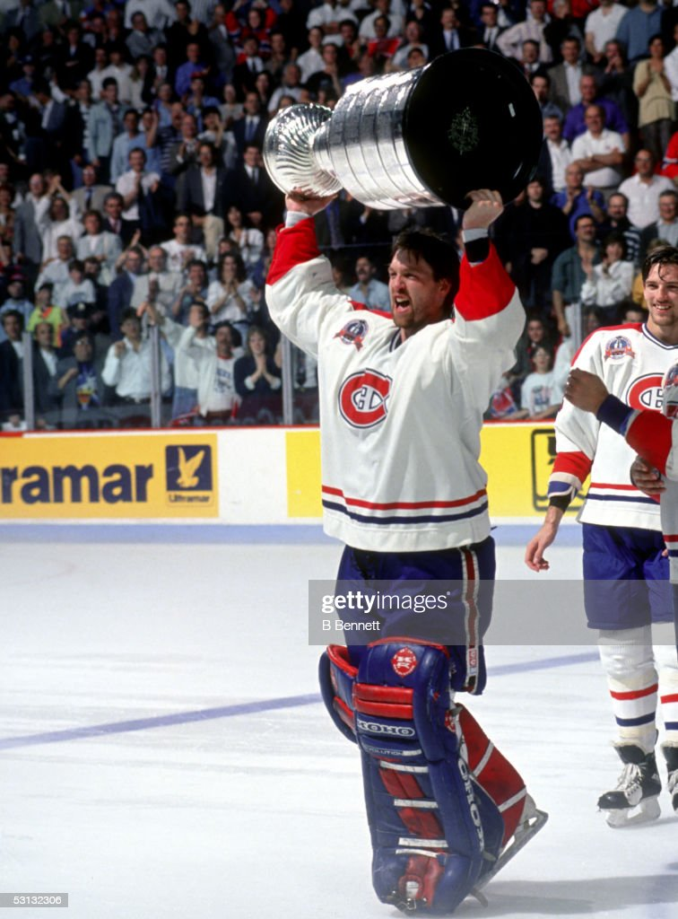 Patrick Roy raises the cup 1993 Stanley Cup