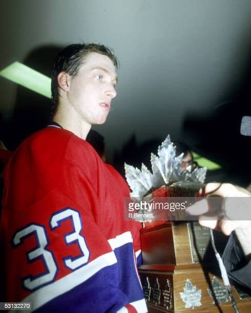 Patrick Roy with the Conn Smythe Trophy 1986 Stanley Cup