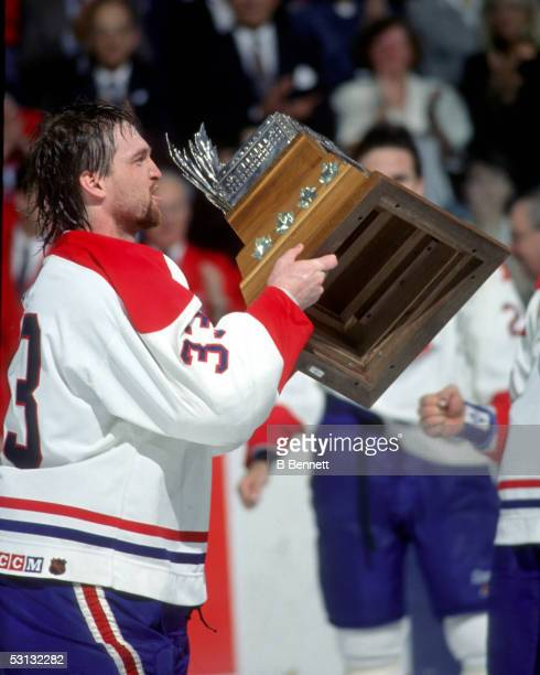 Patrick Roy with the Conn Smythe Trophy 1993 Stanley Cup