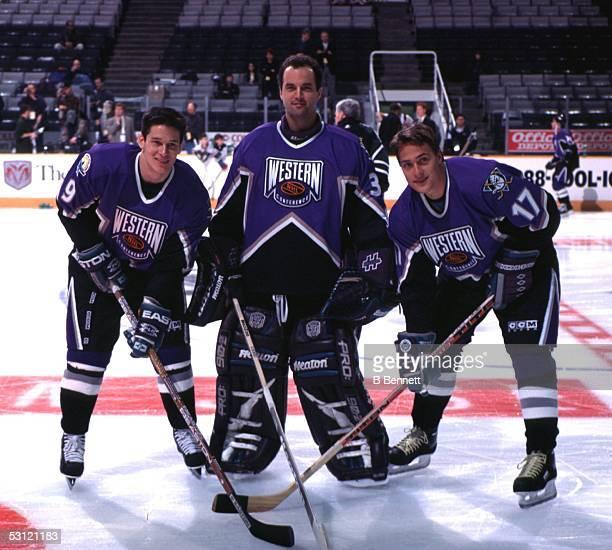 Paul Kariya Guy Hebert and Teemu Selanne of the Western Conference AllStar team representing the Mighty Ducks of Anaheim