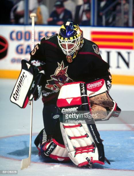 Phoenix Coyotes goaltender Nikolai Khabibulin makes the pad save during opening night action against the Hartford Whalers at the Hartford Civic Center