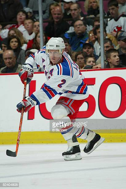 Player Brian Leetch of the New York Rangers