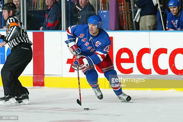 Player Mark Messier of the New York Rangers