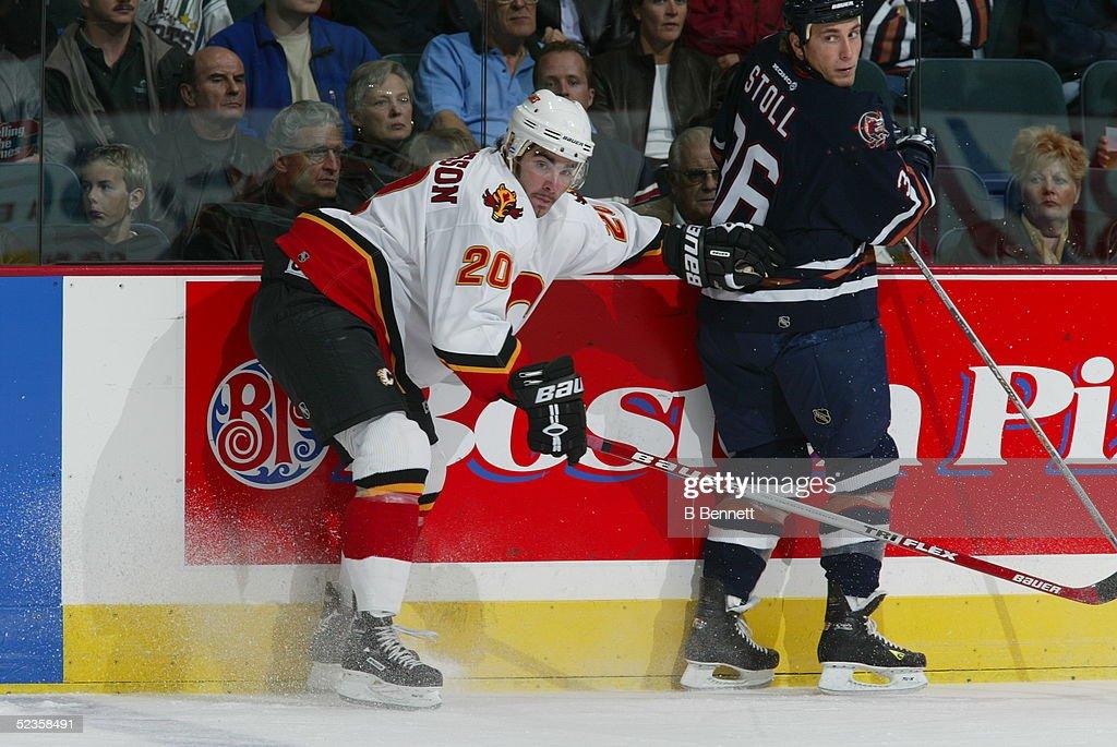 Player Mattias Johansson of the Calgary Flames.