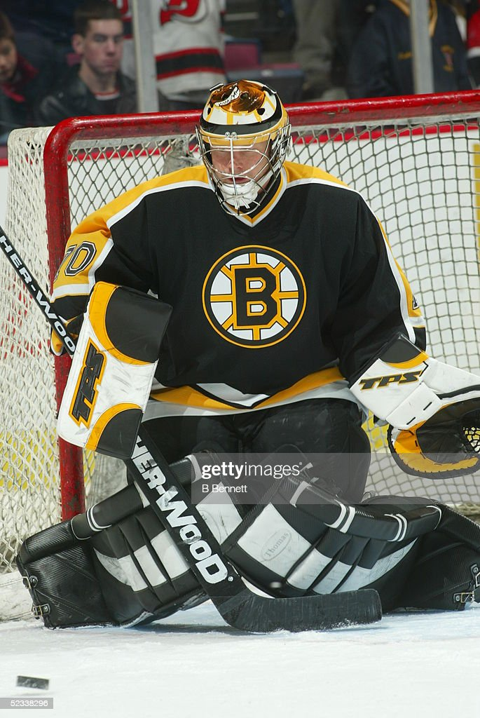 Player Timothy Thomas of the Boston Bruins.