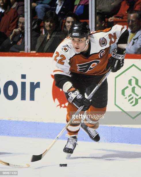 Rick Tocchet of the Philadelphia Flyers skates against the Montreal Canadiens during the 1990's at the Montreal Forum in Montreal Quebec Canada