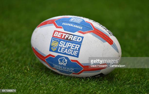 2017 season rugby league football during the Betfred Super League Round 3 match between Wigan Warriors and Leigh Centurions at DW Stadium on March 3...