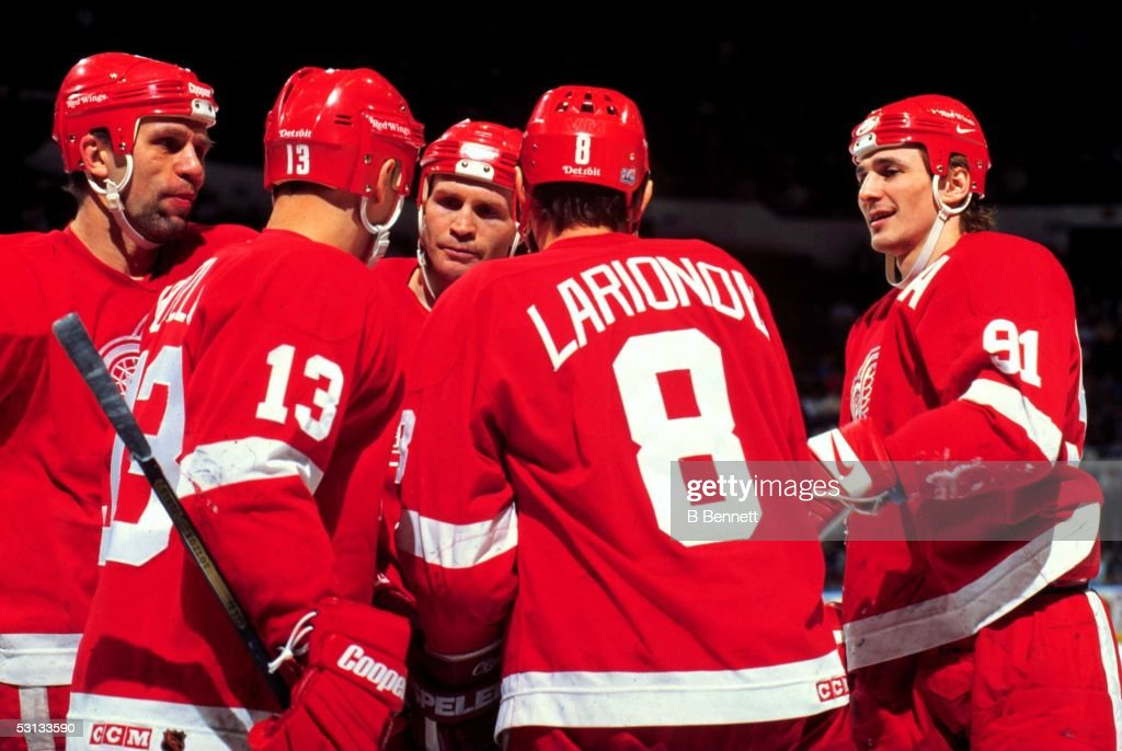 The 'Russian Five' (L to R) Slava Fetisov, Slava Kozlov, Vladimir Konstantinov, Igor Larionov and Sergei Fedorov of the Detroit Red Wings.