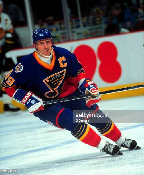 Wayne Gretzky in action during his first game as a member of the St Louis Blues