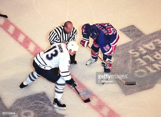 Wayne Gretzky prepares to face off against Mats Sundin during Wayne's final game in Toronto's Maple Leaf Gardens