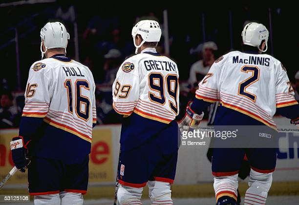 Wayne Gretzky with Brett Hull and Al MacInnis And Player Blues Gretzky