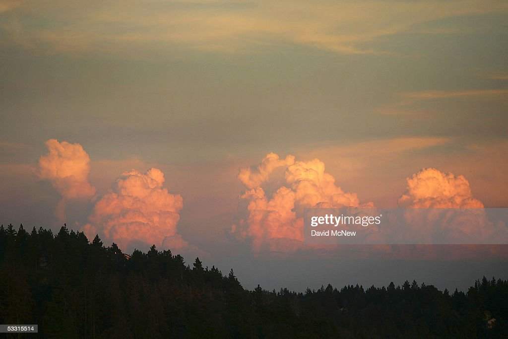 Seasonal afternoon thunderheads, which often result in lightning-caused wildfires, rise on August 1, 2005 near Big Bear, east of Lake Arrowhead, California. Last winter was one of the wettest on record, dropping 90 inches of rain in some southern California mountain areas and creating the thickest vegetation growth in memory, and damaging more than 2,000 miles of fire access roads used to protect 2.3 million acres of forests. In addition to the many thousands of trees killed by a massive pine beetle infestation, newly grown vegetation is drying up under triple-digit temperatures and raising fears of a repeat of the devastating fire season of 2003. President Bush signed an emergency funding bill in May allocating $25 million to fix roads in southern California?s national forests but Congress has acted slower than expected in providing the money so some of the repairs might not be done until October.