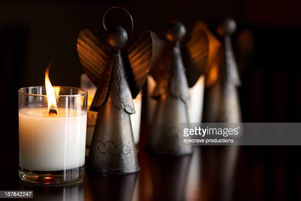 Saisonaler Urlaub Brennen Feuer Kerze angel
