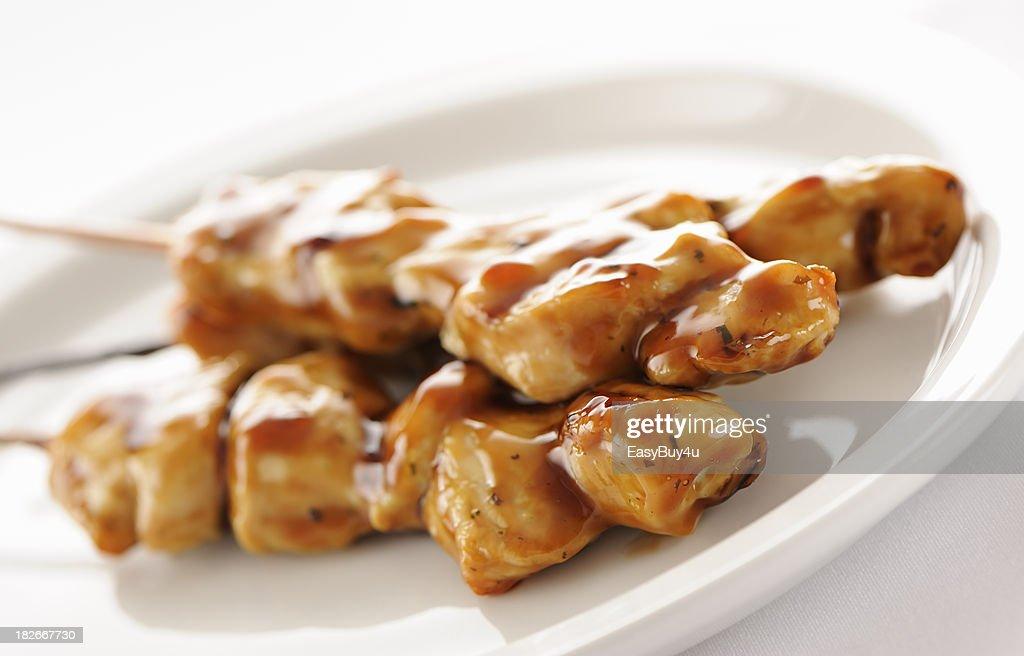 Seasoned chicken skewers : Stock Photo