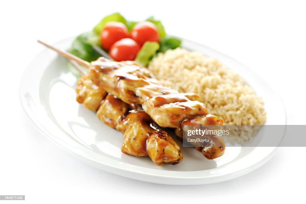 Seasoned chicken skewers : Stock Photo