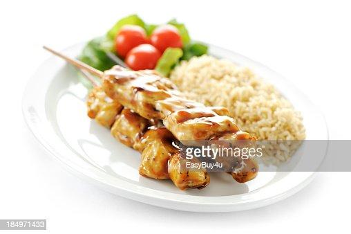 Seasoned chicken skewers