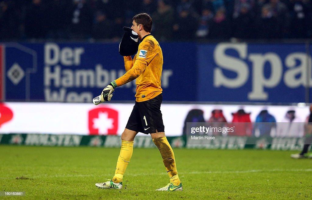Seastian Mielitz, goalkeeper of Bremen walks off dejected after the Bundesliga match between Hamburger SV and SV Werder Bremen at Imtech Arena on January 27, 2013 in Hamburg, Germany.