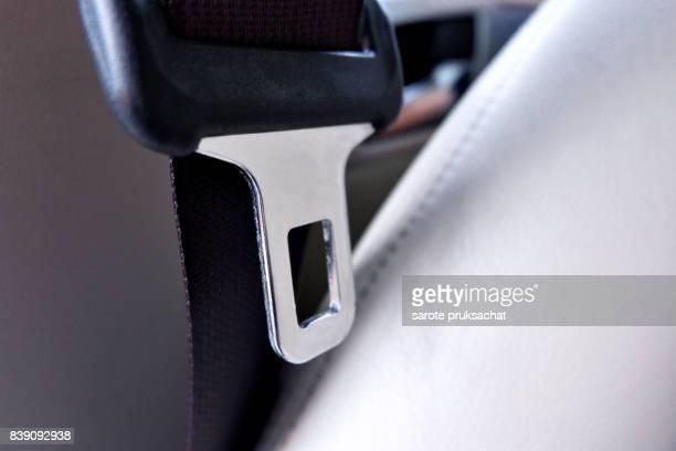 seat belt or safety belt close up .