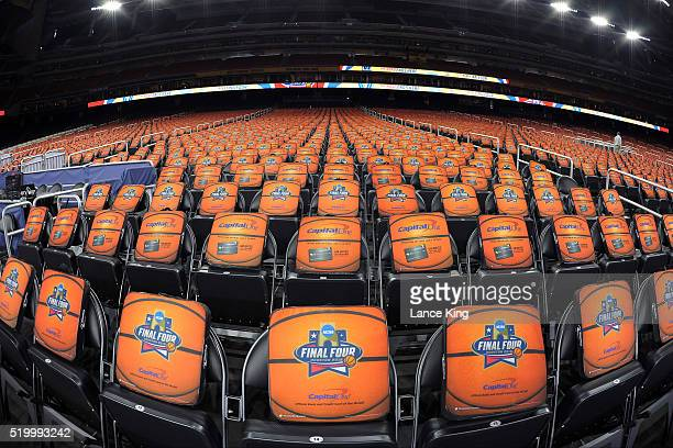 Seat cushions are seen in chairs ahead of the game between the Villanova Wildcats and the North Carolina Tar Heels during the 2016 NCAA Men's Final...