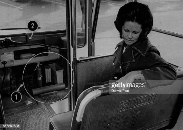 Seat Frames are Padded But Seat back Isn't Mrs Carol Meyer Lakewood a Jefferson County school bus driver shows padded seat frames on one of...