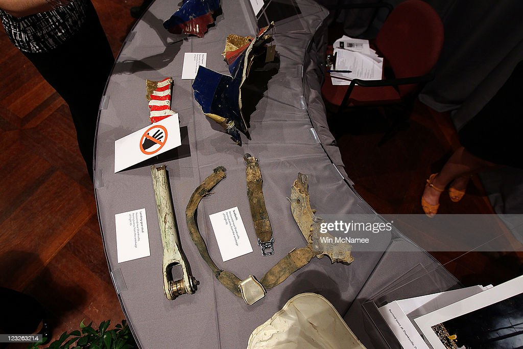 Seatbelts and other items from United Flight 93 found at the crash site in Shanksville, Pennsylvania are displayed as part of an exhibit at the Smithsonian National Museum of American History September 1, 2011 in Washington, DC. For nine days leading up to the 10th anniversary of the terrorist attacks, the Museum will display more than 50 objects from the World Trade Center, Pentagon and Shanksville, Pennsylvania, in an exhibit titled, 'September 11: Remembrance and Reflection.'