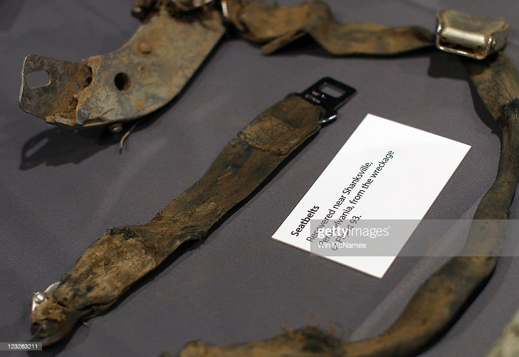 Seatbelts from United Flight 93 found at the crash site in Shanksville, Pennsylvania are displayed alongside other artifacts from the September 11, 2001 attacks as part of an exhibit at the Smithsonian National Museum of American History September 1, 2011 in Washington, DC. For nine days leading up to the 10th anniversary of the terrorist attacks, the Museum will display more than 50 objects from the World Trade Center, Pentagon and Shanksville, Pennsylvania, in an exhibit titled, 'September 11: Remembrance and Reflection.'