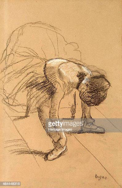 'Seated Dancer Adiusting her Shoes' c1876 Degas Edgar Found in the collection of the State Hermitage St Petersburg