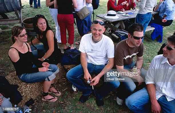 Seated men and women, Toast Martinborough Wine, Food & Music Festival.