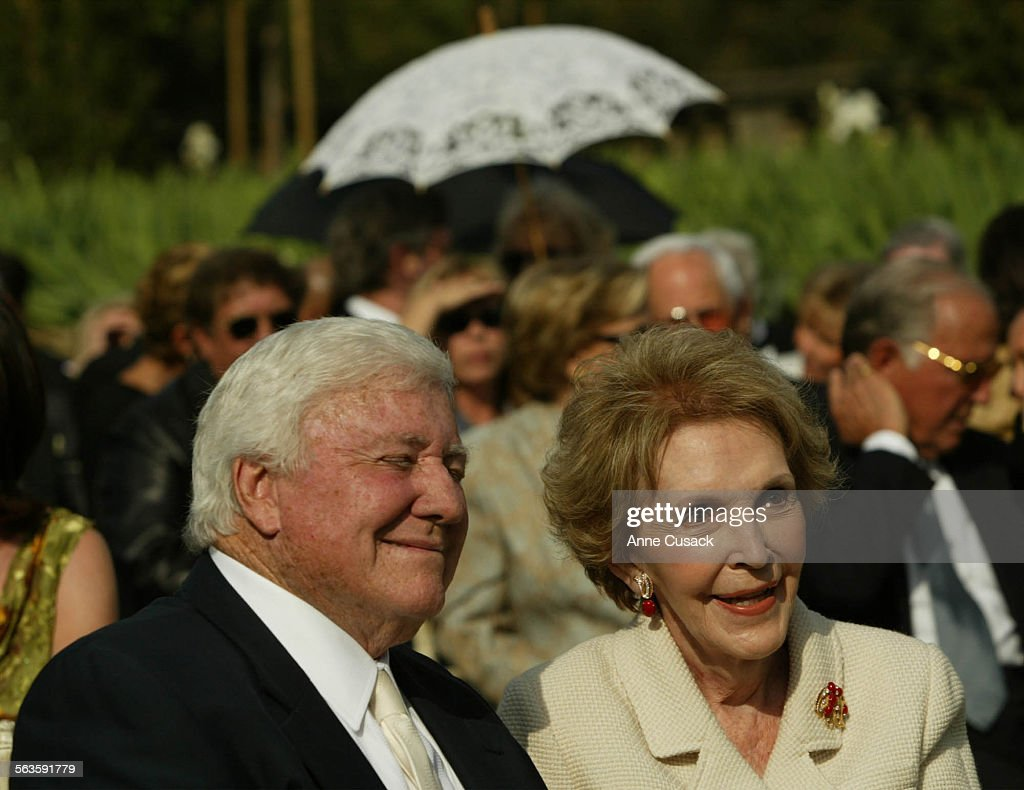 Seated next to each other for the ceremony are Merv Griffin and Nancy ReaganAnne and Kirk Douglas celebrated their 50th wedding anniversary with a...