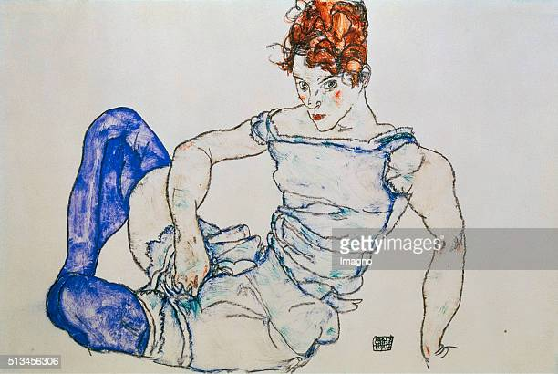 Seated woman with violet stockings 1917 Gouache /black chalk 296 x 442 cm Gouache by Egon Schiele