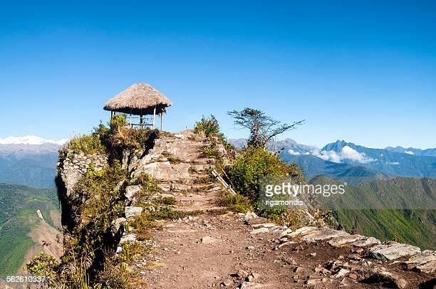 Seating area at top of Machu Picchu, Peru