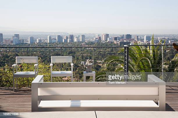 Seating area overlooking cityscape
