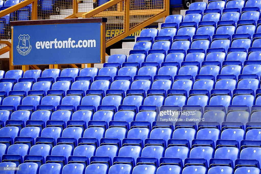 Seating in the Parke End Stand before the Barclays Premier League match between Everton and A.F.C. Bournemouth at Goodison Park on April 30, 2016 in Liverpool, England.