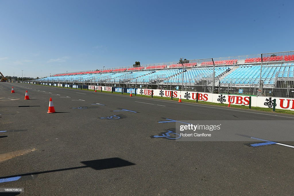 Seating is erected as the circuit is prepared for the Australian Formula One grand Prix at Albert Park, on February 8, 2013 in Melbourne, Australia.
