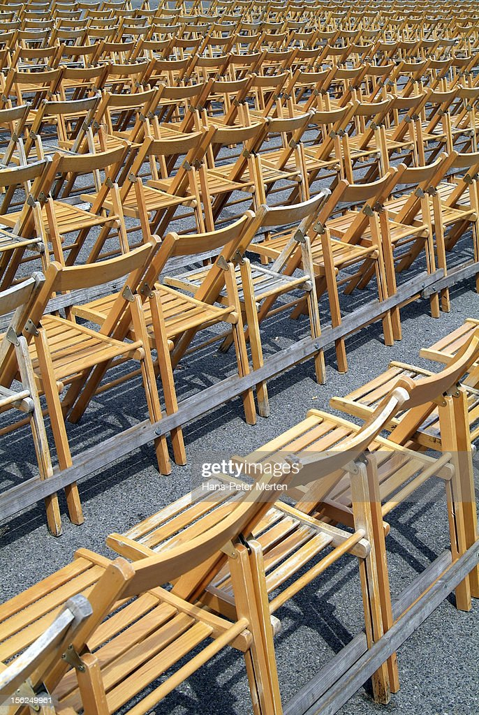 seating with wooden chairs : Stock Photo