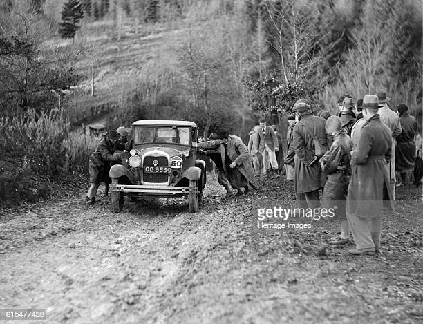 KHL Seaton's Ford Model A saloon receiving a push in the InterVarsity Trial 1930 Ford A Saloon Vehicle Reg No QQ9550 Event Entry No 50 Driver Seaton...